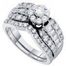 WOMENS DIAMOND ENGAGEMENT RING WEDDING BAND BRIDAL SET 1.39 CARAT ROUND CUT