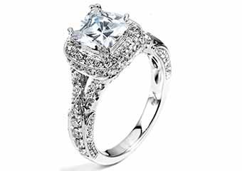 WOMENS DIAMOND ENGAGEMENT HALO RING PRINCESS SQUARE CUT 2.2 CARAT 18K WHITE GOLD