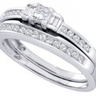 WOMENS DIAMOND ENGAGEMENT RING WEDDING BAND BRIDAL SET .45 CARATS PRINCESS CUT