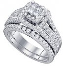 WOMENS DIAMOND ENGAGEMENT HALO RING WEDDING BAND BRIDAL SET PRINCESS SQUARE CUT