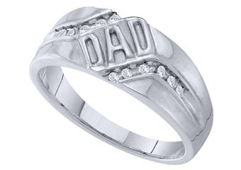 DIAMOND RING FATHERS DAY GIFT DAD WHITE GOLD .12 CARATS CHANNEL SET