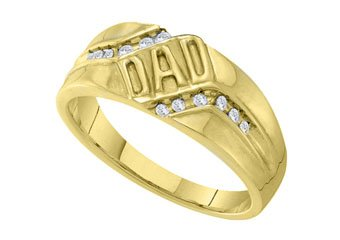 DIAMOND RING FATHERS DAY GIFT DAD YELLOW GOLD .12 CARATS CHANNEL SET
