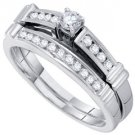 WOMENS DIAMOND ENGAGEMENT RING WEDDING BAND BRIDAL SET WHITE GOLD ROUND .50 CTS
