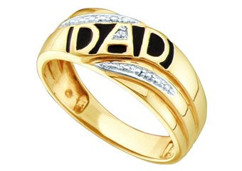 DIAMOND RING FATHERS DAY GIFT DAD 10k YELLOW GOLD .005 CARATS