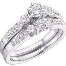 WOMENS DIAMOND ENGAGEMENT RING WEDDING BAND BRIDAL SET WHITE GOLD ROUND .94 CTS