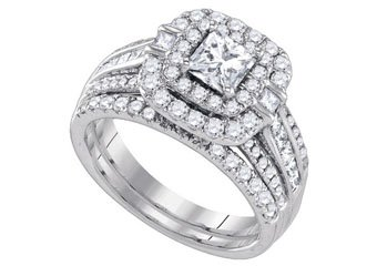 WOMENS DIAMOND HALO ENGAGEMENT RING WEDDING BAND BRIDAL SET PRINCESS CUT 2.0 CTS