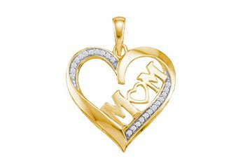 Diamond Mom Pendant Mothers Day Gift 10k Yellow Gold .08 Carats