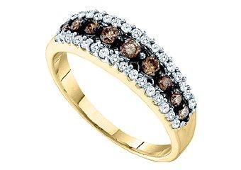 WOMENS BROWN CHAMPAGNE DIAMOND WEDDING BAND RING YELLOW GOLD