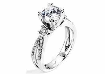 WOMENS DIAMOND ENGAGEMENT RING BRILLIANT ROUND 1.34 CARATS 14KT WHITE GOLD