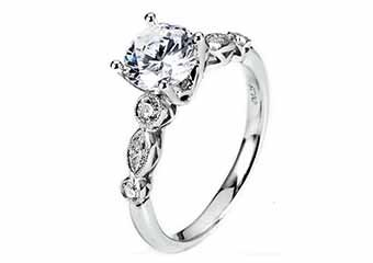 WOMENS DIAMOND ENGAGEMENT RING BRILLIANT ROUND 1.31 CARATS 18KT WHITE GOLD