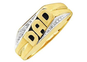 DIAMOND RING FATHERS DAY GIFT DAD YELLOW GOLD .01 CARATS