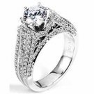 WOMENS DIAMOND ENGAGEMENT RING BRILLIANT ROUND 2.17 CARATS 18KT WHITE GOLD