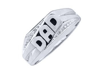 DIAMOND RING FATHERS DAY GIFT DAD WHITE GOLD .01 CARATS