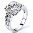 WOMENS DIAMOND ENGAGEMENT HALO RING BRILLIANT ROUND 2.11 CARATS 14KT WHITE GOLD