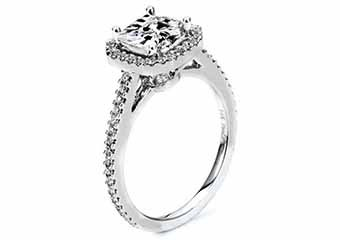 WOMENS DIAMOND ENGAGEMENT HALO RING PRINCESS SQUARE CUT 1.4 CARAT 14K WHITE GOLD