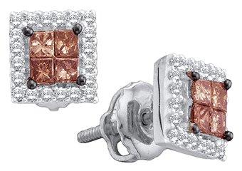 .33 CARAT PRINCESS SQUARE BROWN CHAMPAGNE DIAMOND STUD EARRINGS WHITE GOLD