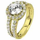 WOMENS DIAMOND ENGAGEMENT HALO RING ROUND CUT 2.45 CARAT 14K YELLOW GOLD