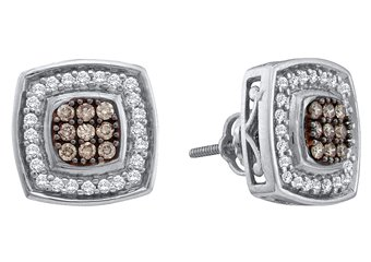 .50 CARAT SQUARE SHAPE BROWN CHAMPAGNE DIAMOND HALO STUD EARRINGS WHITE GOLD