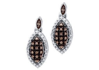 .30 CARAT MARQUISE SHAPE BROWN CHAMPAGNE DIAMOND DANGLE EARRINGS WHITE GOLD