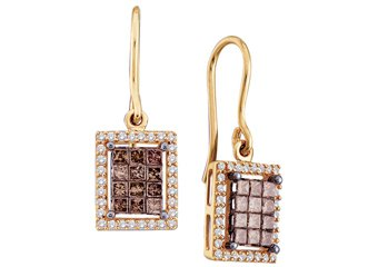 1 CARAT PRINCESS SQUARE BROWN CHAMPAGNE DIAMOND HALO DANGLE EARRINGS YELLOW GOLD