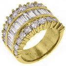5.68 CARAT WOMENS BAGUETTE ROUND CUT DIAMOND RING WEDDING BAND YELLOW GOLD