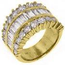5.68 CARAT WOMENS BAGUETTE ROUND CUT DIAMOND RING WEDDING BAND YELLOW GOLD