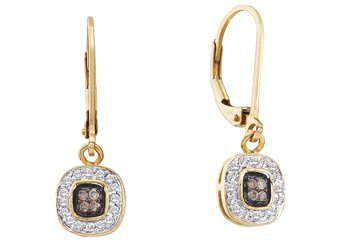 .23 CARAT BRILLIANT ROUND  BROWN CHAMPAGNE DIAMOND DANGLE EARRINGS YELLOW GOLD
