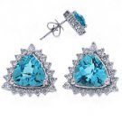 1.53 CARAT BLUE TOPAZ TRILLION SHAPE DIAMOND HALO STUD EARRINGS 14KT WHITE GOLD