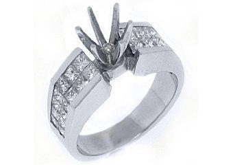 1.62 CARAT WOMENS DIAMOND ENGAGEMENT RING SEMI-MOUNT PRINCESS CUT WHITE GOLD