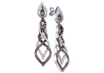 1.5 CARAT BRILLIANT ROUND  BROWN CHAMPAGNE DIAMOND DANGLE EARRINGS WHITE GOLD