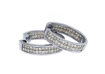 WOMENS 2 CARAT PRINCESS SQUARE CUT DIAMOND HOOP EARRINGS WHITE GOLD INSIDE OUT