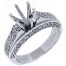 1.38 CARAT WOMENS DIAMOND ENGAGEMENT RING SEMI-MOUNT ROUND CUT PAVE WHITE GOLD