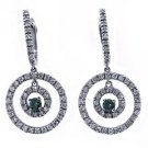 1.34 CARAT BRILLIANT ROUND CUT FANCY BLUE & WHITE DIAMOND DANGLE EARRINGS GOLD