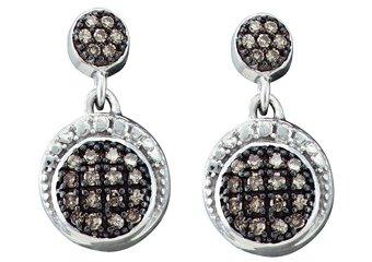 .25 CARAT BRILLIANT ROUND  BROWN CHAMPAGNE DIAMOND DANGLE EARRINGS WHITE GOLD