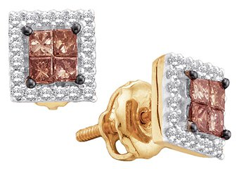 .33 CARAT PRINCESS SQUARE BROWN CHAMPAGNE DIAMOND HALO STUD EARRINGS YELLOW GOLD