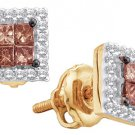 .33 CARAT PRINCESS SQUARE BROWN CHAMPAGNE DIAMOND HALO STUD EARRINGS YELLOW GOLD