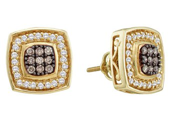 .50 CARAT SQUARE SHAPE BROWN CHAMPAGNE DIAMOND HALO STUD EARRINGS YELLOW GOLD