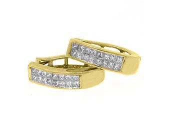 WOMENS 1/2 CARAT INVISIBLE SQUARE DIAMOND HOOP EARRINGS YELLOW GOLD