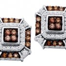 .48 CARAT BRILLIANT ROUND BROWN CHAMPAGNE DIAMOND STUD EARRINGS WHITE GOLD