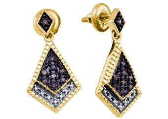 .19 CARAT BRILLIANT ROUND BROWN CHAMPAGNE DIAMOND DANGLE EARRINGS 925 SILVER