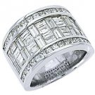 MENS 6.29 CARAT PRINCESS BAGUETTE CUT DIAMOND RING WEDDING BAND 18KT WHITE GOLD