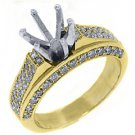 1.38 CARAT WOMENS DIAMOND ENGAGEMENT RING SEMI-MOUNT ROUND CUT PAVE YELLOW GOLD
