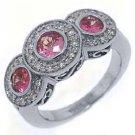WOMENS PINK SAPPHIRE 3 STONE DIAMOND RING ROUND CUT BEZEL SET 14KT WHITE GOLD