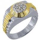 MENS .45CT BRILLIANT ROUND SHAPE 7-STONE DIAMOND RING 14K TWO-TONE WHITE GOLD