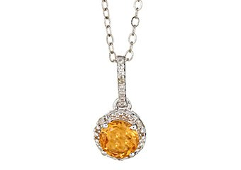 CITRINE & DIAMOND HALO PENDANT STERLING SILVER ROUND .72 CARATS CABLE CHAIN
