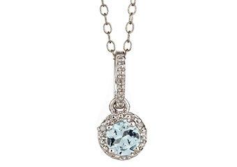 AQUAMARINE & DIAMOND HALO PENDANT STERLING SILVER ROUND .43 CARATS CABLE CHAIN