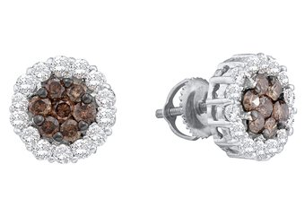 .76 CARAT ROUND BROWN CHAMPAGNE DIAMOND HALO STUD EARRINGS WHITE GOLD