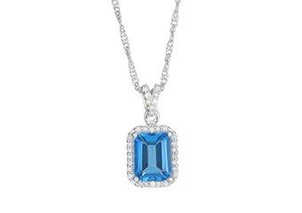 """BLUE TOPAZ & DIAMOND HALO PENDANT 9x7MM EMERALD CUT 925 SILVER 18"""" CHAIN"""