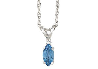 BLUE TOPAZ & DIAMOND PENDANT 925 STERLING SILVER MARQUISE .66 CARATS CABLE CHAIN