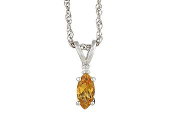 CITRINE & DIAMOND PENDANT 925 STERLING SILVER MARQUISE .51 CARATS CABLE CHAIN